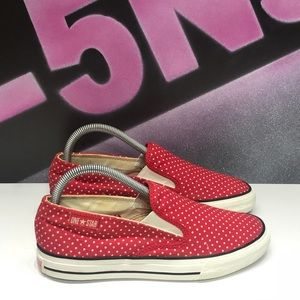 Converse One Star Red Polka Dot Slip Ons
